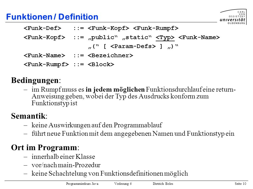 Funktionen / Definition