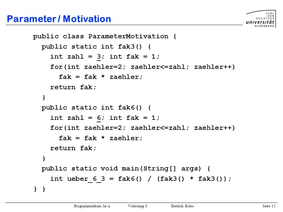 Parameter / Motivation