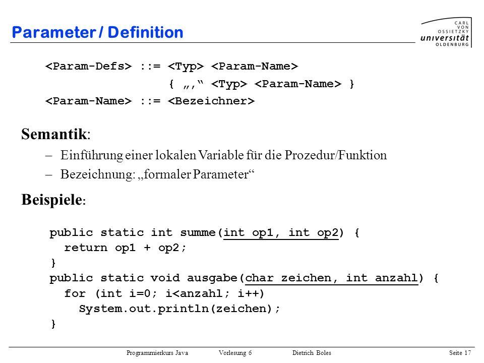 Parameter / Definition