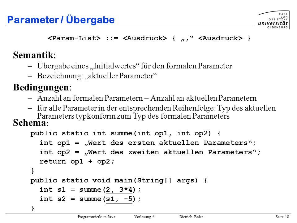 Parameter / Übergabe Semantik: Bedingungen: Schema: