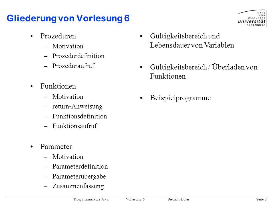Gliederung von Vorlesung 6