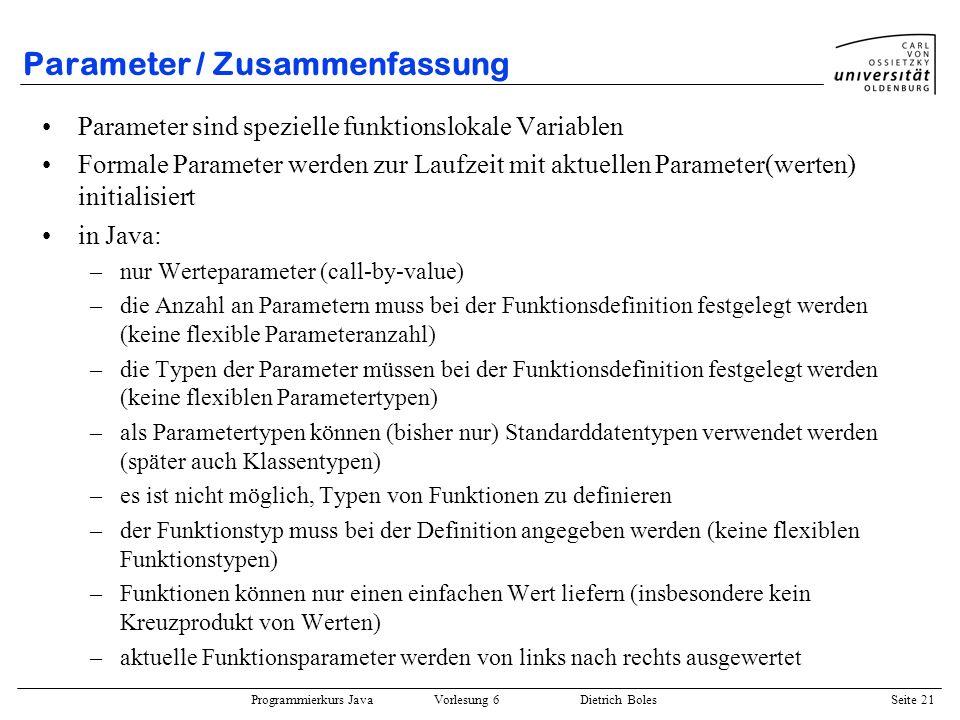 Parameter / Zusammenfassung