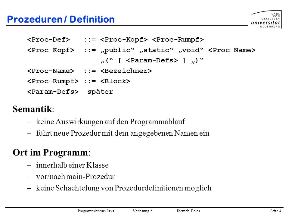 Prozeduren / Definition
