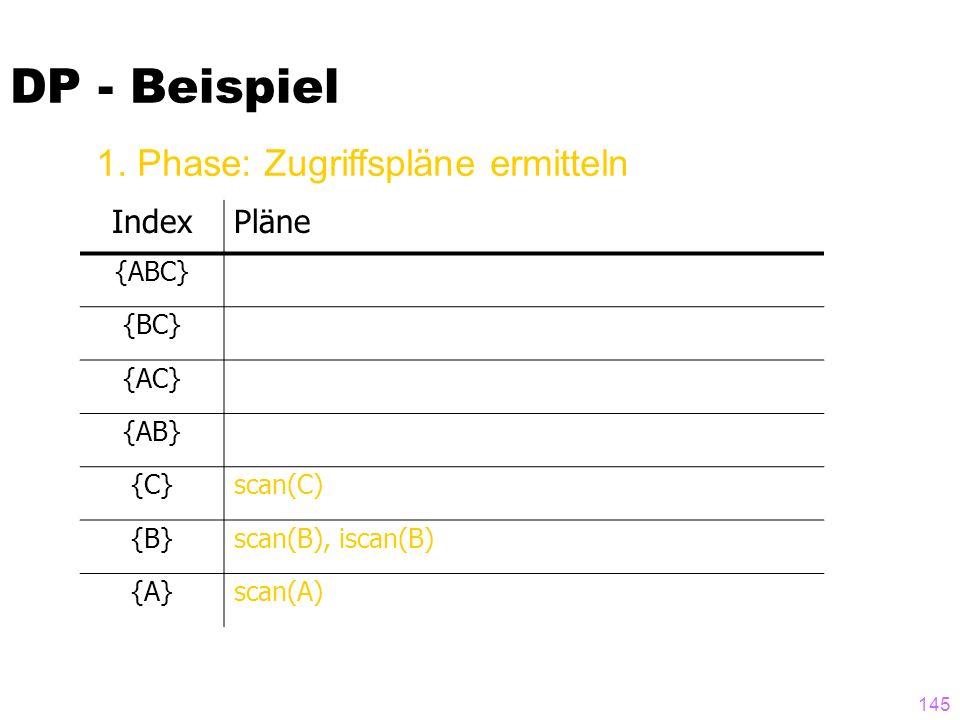 DP - Beispiel 1. Phase: Zugriffspläne ermitteln Index Pläne {ABC} {BC}