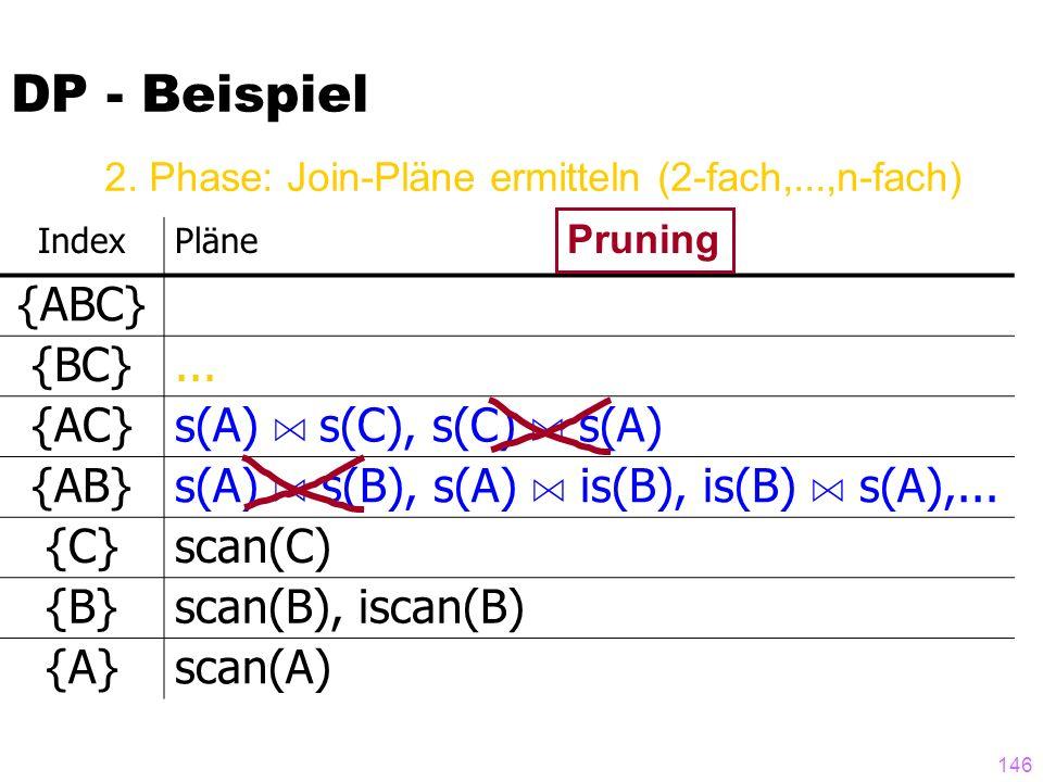 DP - Beispiel {ABC} {BC} ... {AC} s(A) A s(C), s(C) A s(A) {AB}