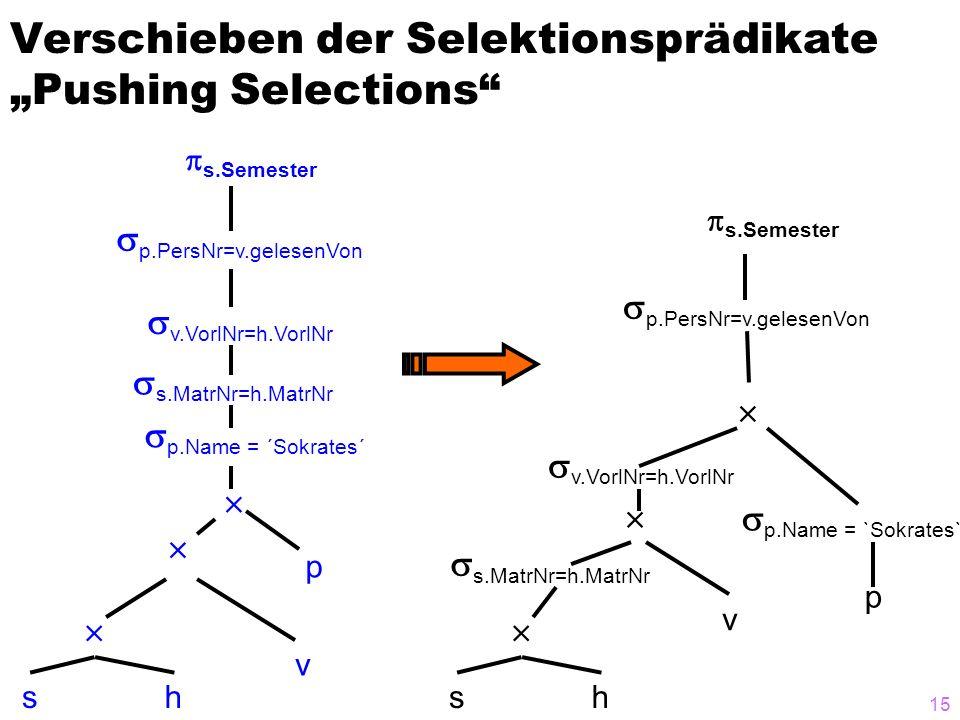 """Verschieben der Selektionsprädikate """"Pushing Selections"""