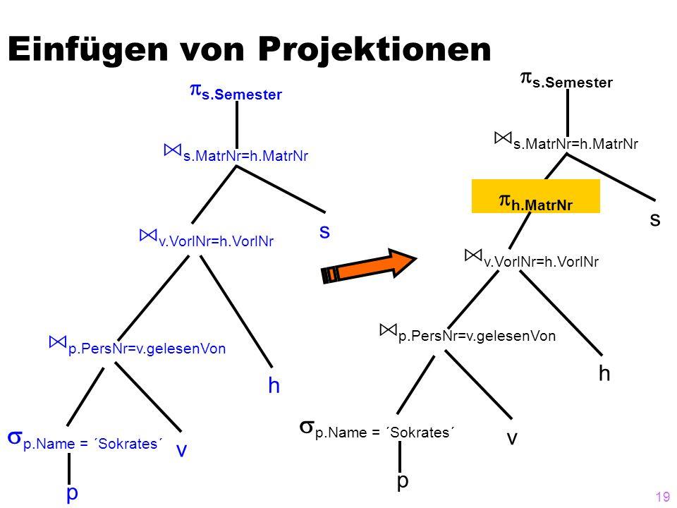 Einfügen von Projektionen