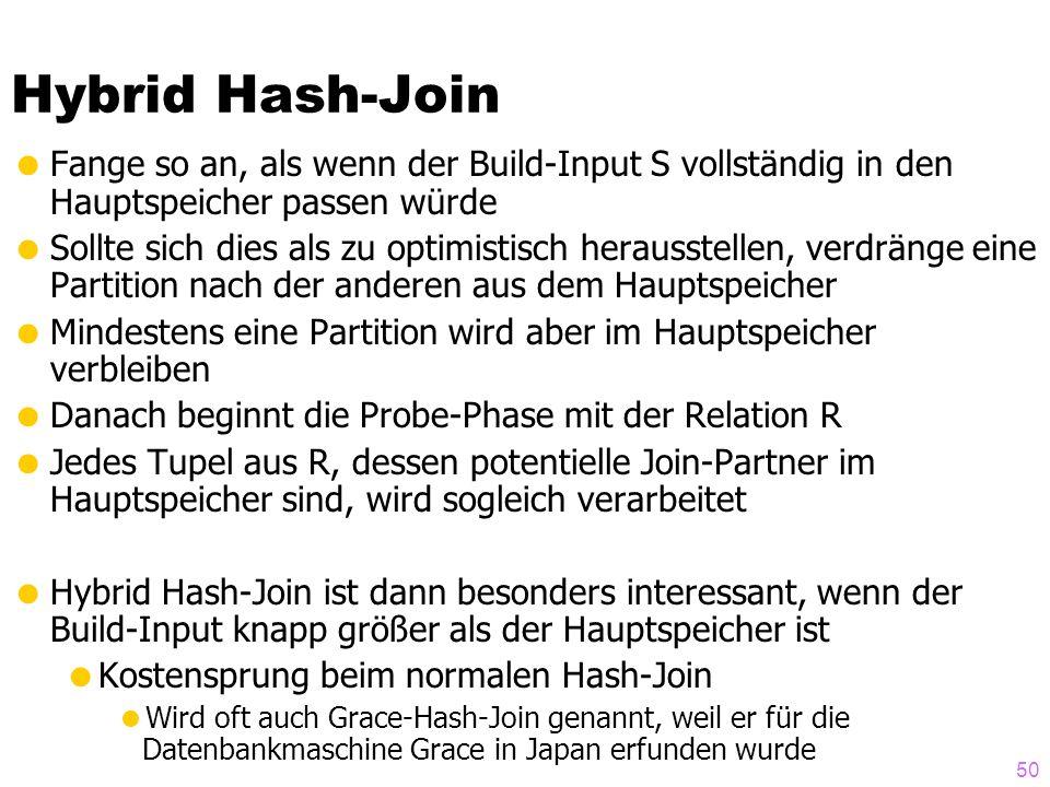 Hybrid Hash-Join Fange so an, als wenn der Build-Input S vollständig in den Hauptspeicher passen würde.