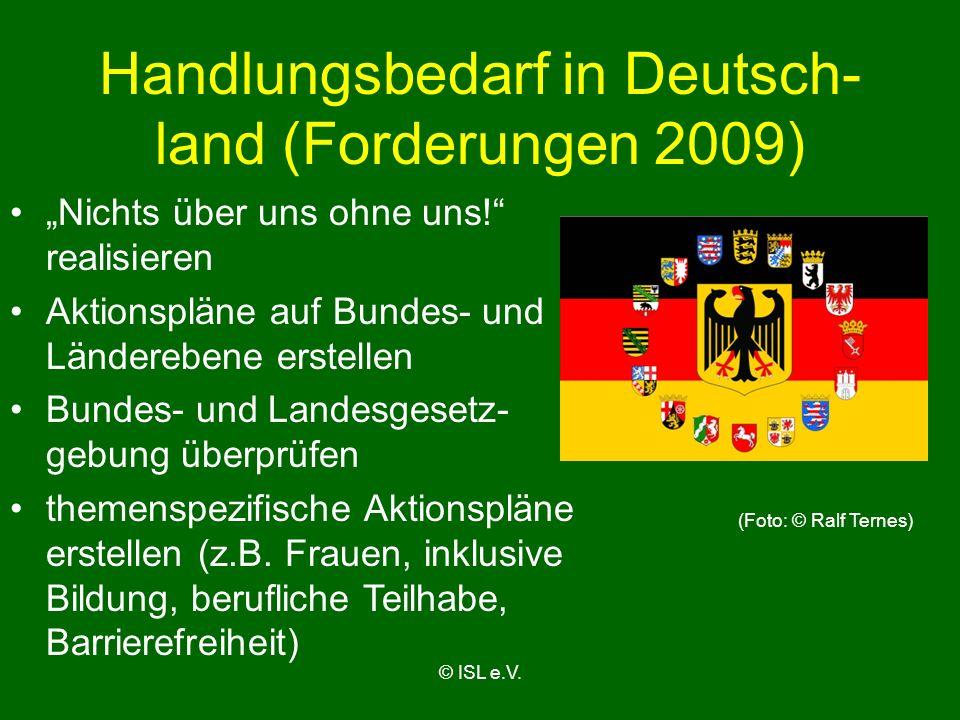 Handlungsbedarf in Deutsch-land (Forderungen 2009)
