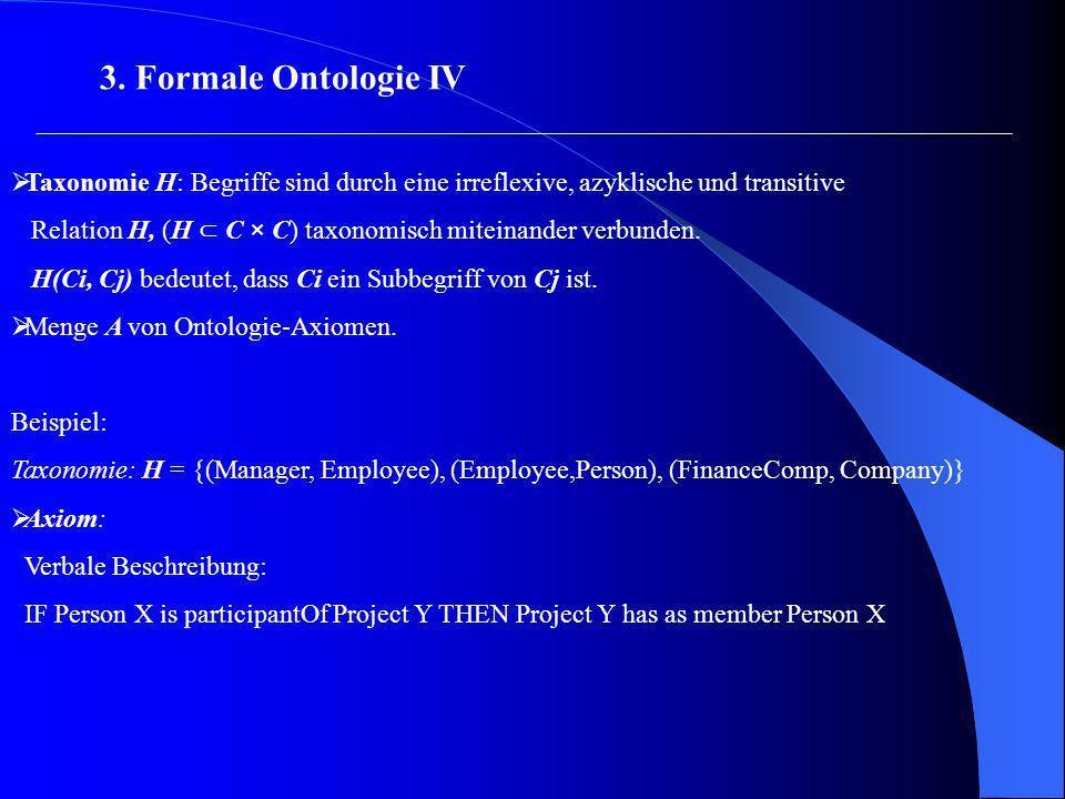 3. Formale Ontologie IV Taxonomie H: Begriffe sind durch eine irreflexive, azyklische und transitive.
