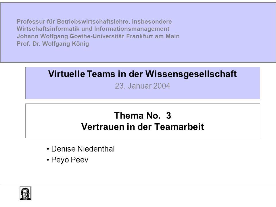 Thema No. 3 Vertrauen in der Teamarbeit