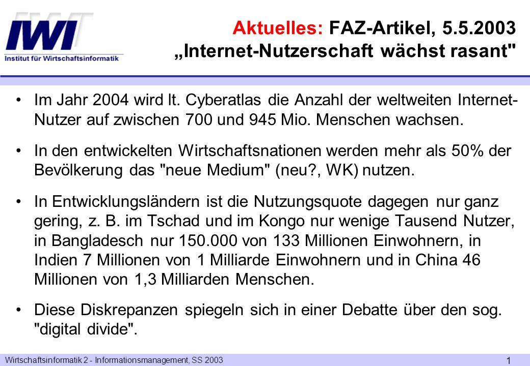 "Aktuelles: FAZ-Artikel, 5.5.2003 ""Internet-Nutzerschaft wächst rasant"