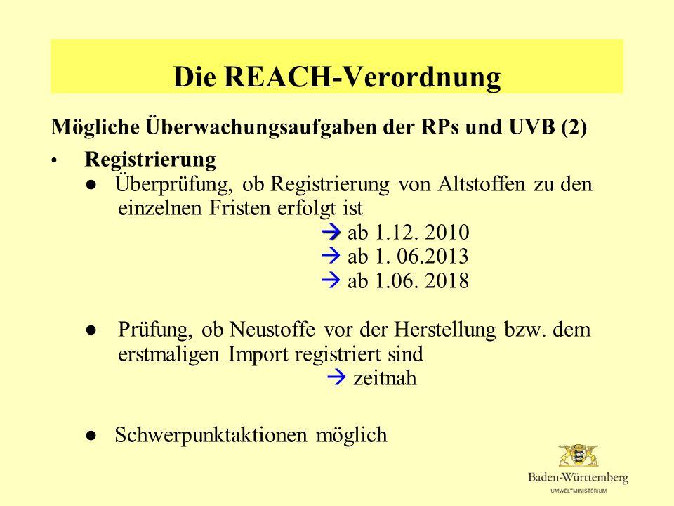 Die REACH-Verordnung Mögliche Überwachungsaufgaben der RPs und UVB (2)