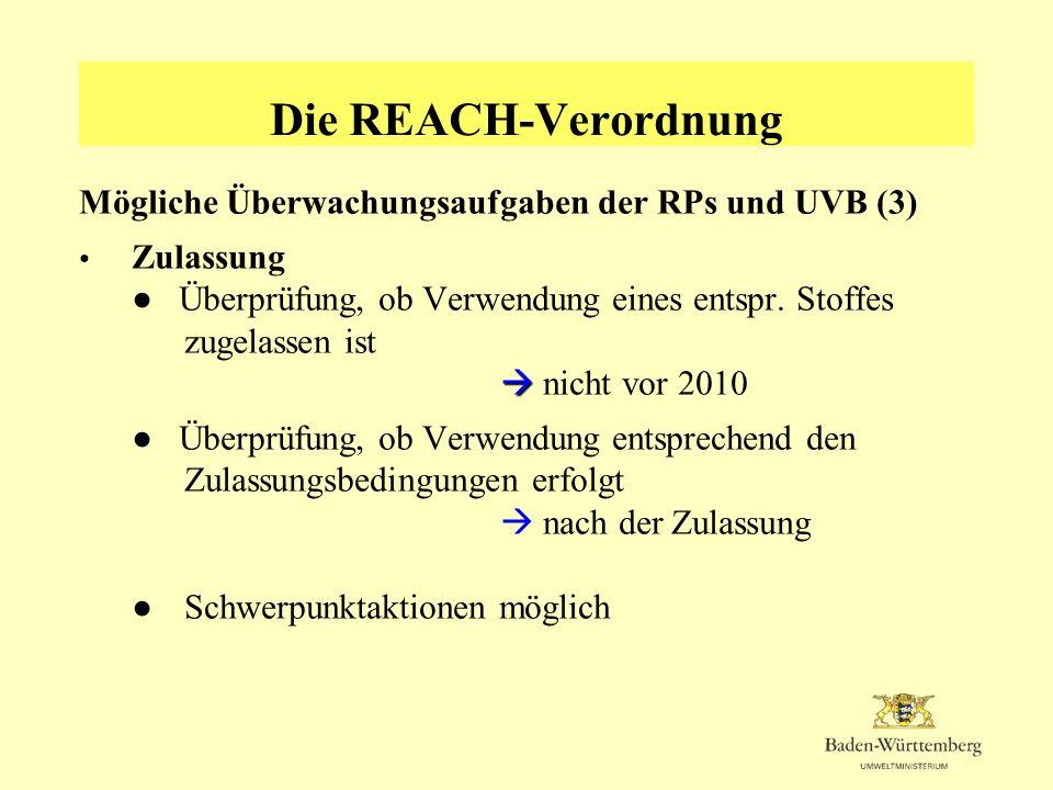 Die REACH-Verordnung Mögliche Überwachungsaufgaben der RPs und UVB (3)