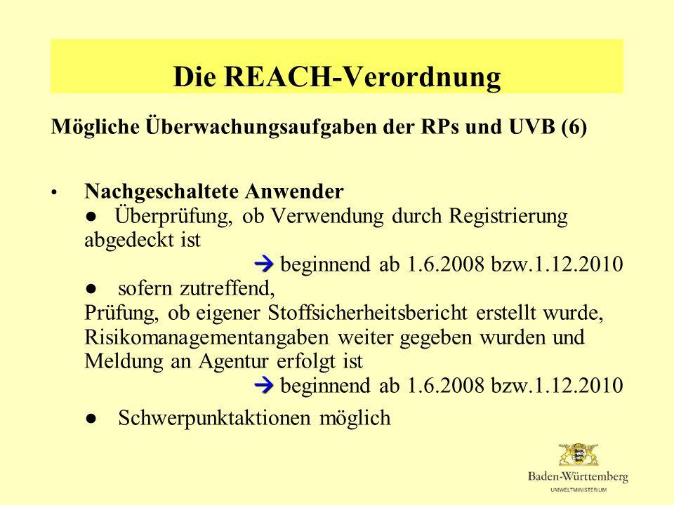 Die REACH-Verordnung Mögliche Überwachungsaufgaben der RPs und UVB (6)