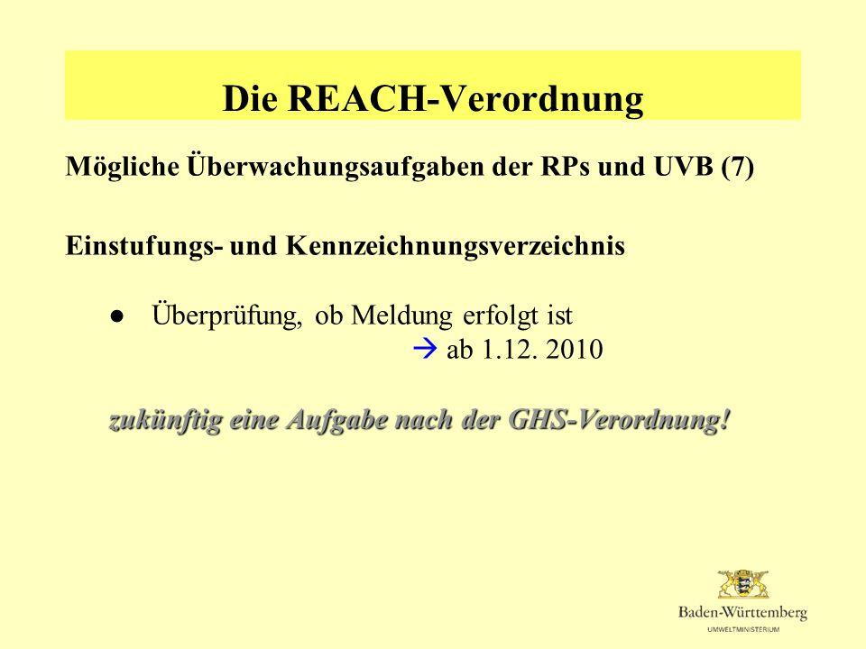 Die REACH-Verordnung Mögliche Überwachungsaufgaben der RPs und UVB (7)