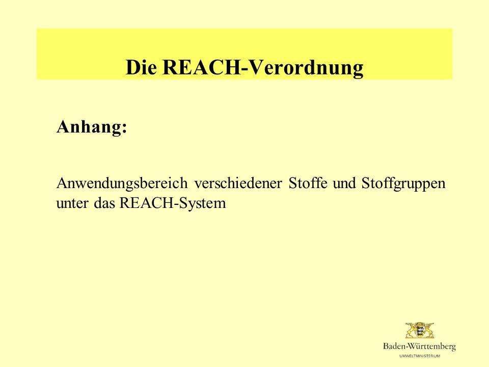 Die REACH-Verordnung Anhang: