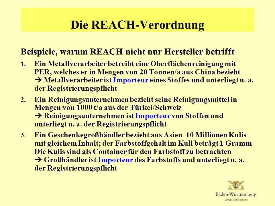 Die REACH-Verordnung Beispiele, warum REACH nicht nur Hersteller betrifft.