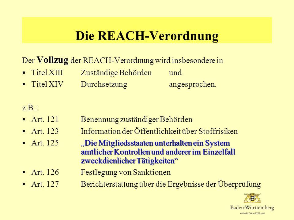 Die REACH-Verordnung Der Vollzug der REACH-Verordnung wird insbesondere in. Titel XIII Zuständige Behörden und.