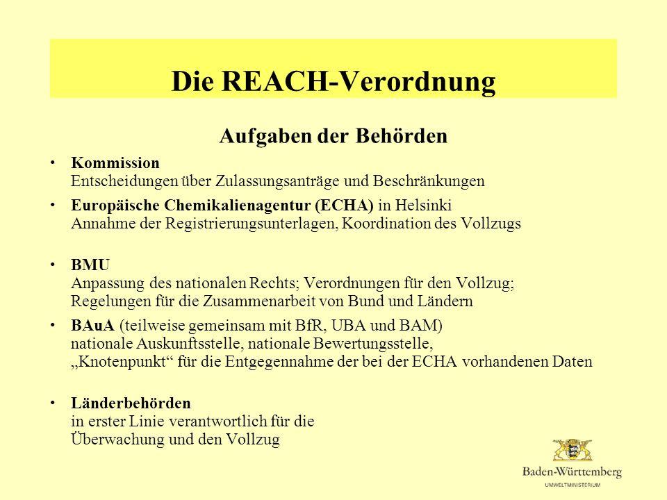 Die REACH-Verordnung Aufgaben der Behörden