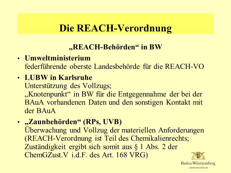 """""""REACH-Behörden in BW"""
