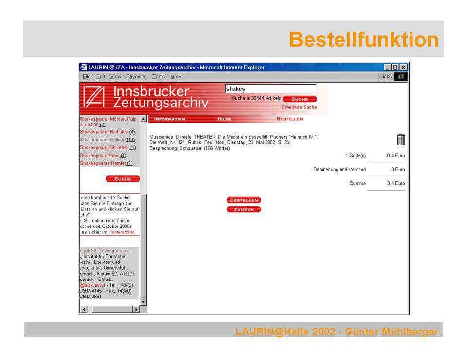 Bestellfunktion LAURIN@Halle 2002 - Günter Mühlberger