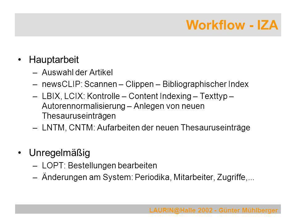 Workflow - IZA Hauptarbeit Unregelmäßig Auswahl der Artikel