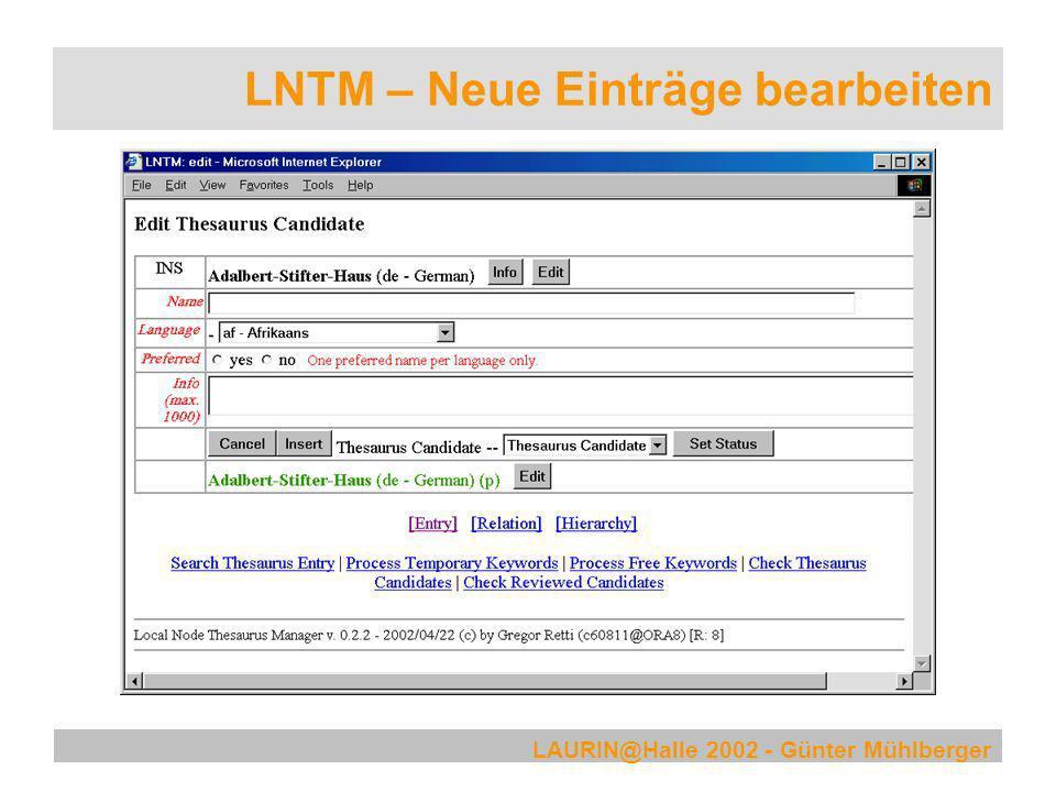LNTM – Neue Einträge bearbeiten