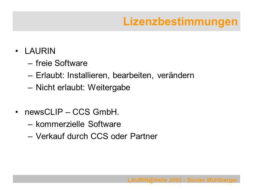 Lizenzbestimmungen LAURIN freie Software