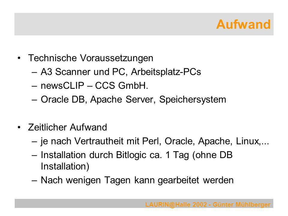 Aufwand Technische Voraussetzungen A3 Scanner und PC, Arbeitsplatz-PCs