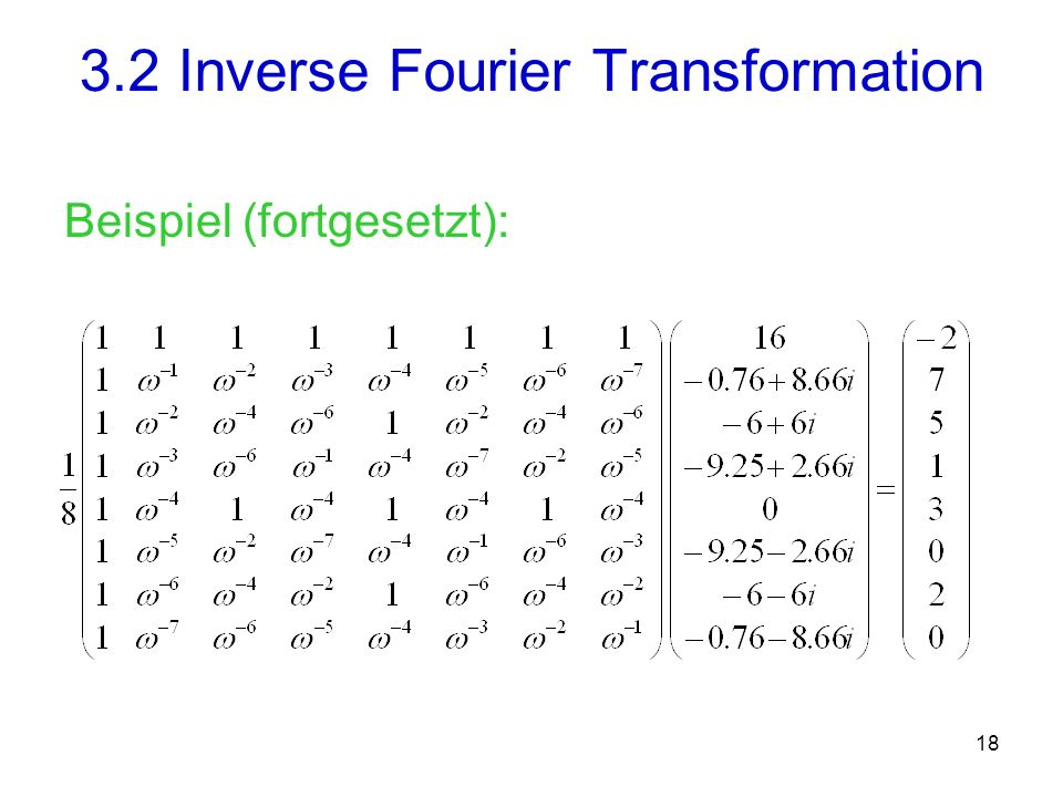 3.2 Inverse Fourier Transformation