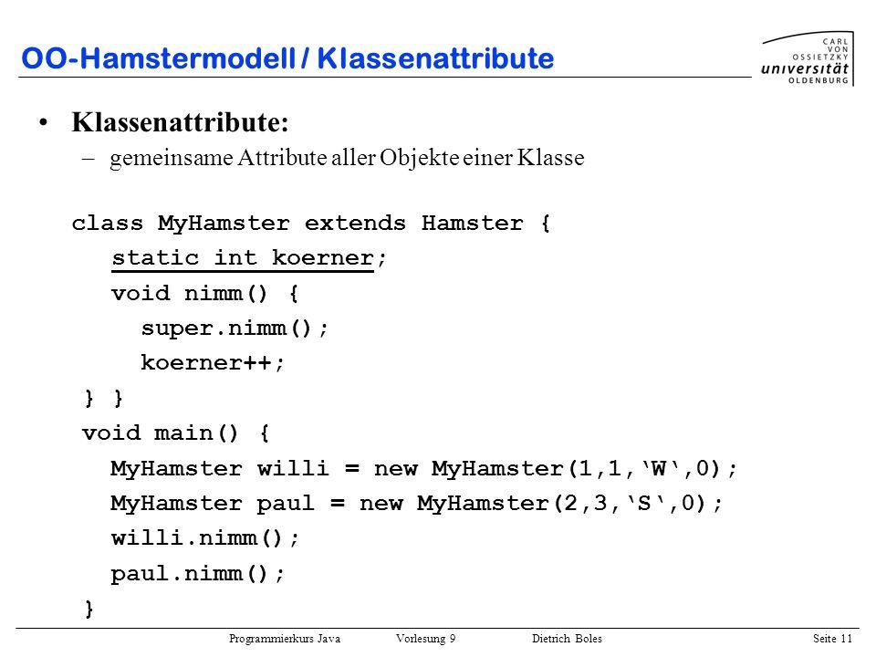 OO-Hamstermodell / Klassenattribute