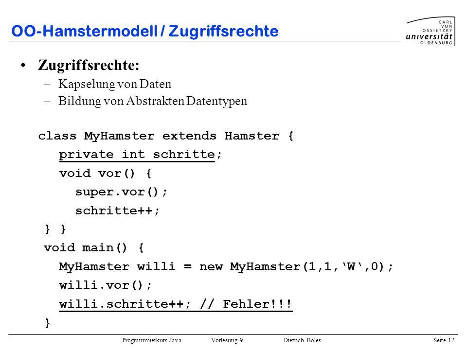 OO-Hamstermodell / Zugriffsrechte