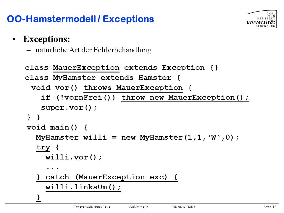 OO-Hamstermodell / Exceptions