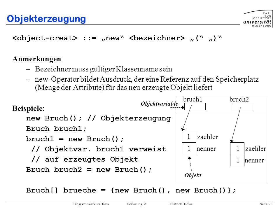 """Objekterzeugung <object-creat> ::= """"new <bezeichner> """"( """") Anmerkungen: Bezeichner muss gültiger Klassenname sein."""