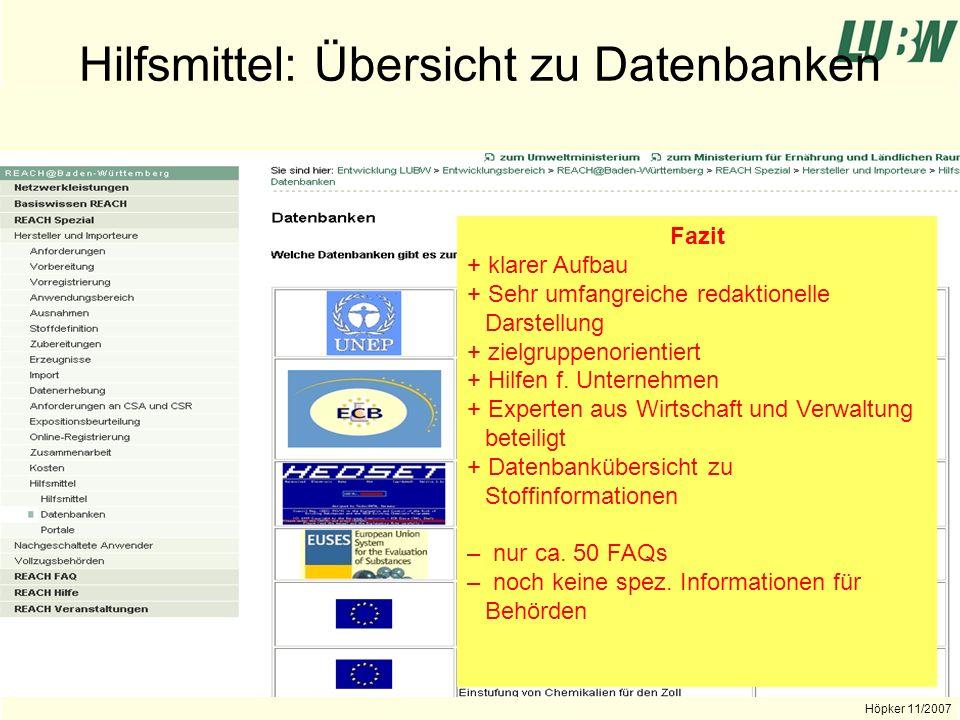 Hilfsmittel: Übersicht zu Datenbanken