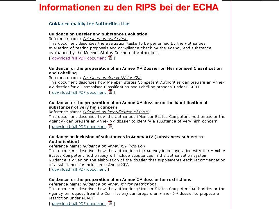 Informationen zu den RIPS bei der ECHA