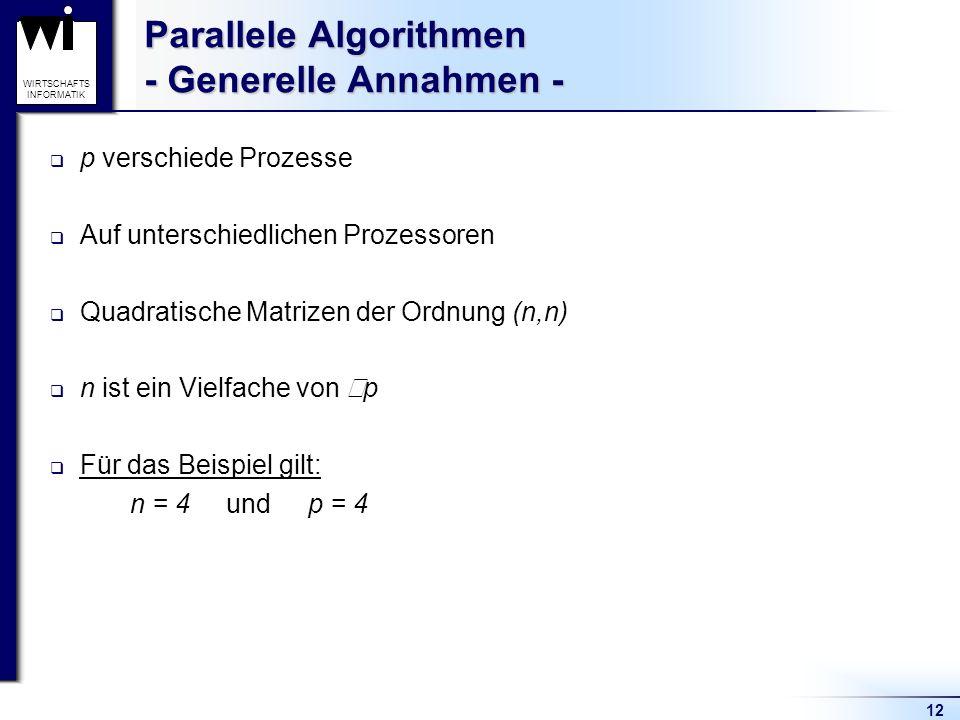 Parallele Algorithmen - Generelle Annahmen -