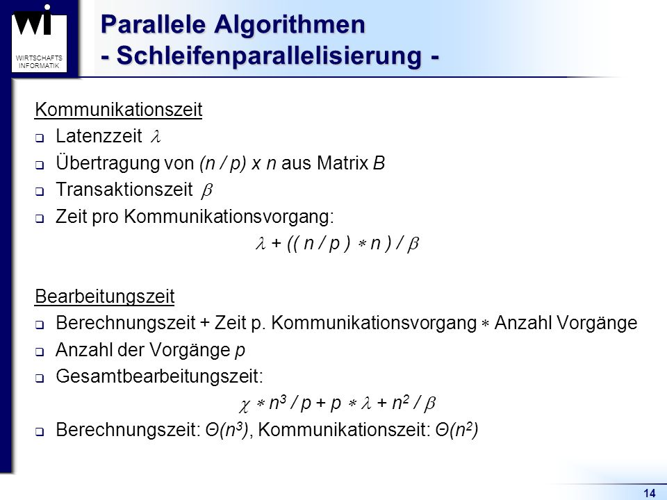 Parallele Algorithmen - Schleifenparallelisierung -
