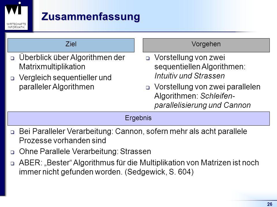 Zusammenfassung Überblick über Algorithmen der Matrixmultiplikation