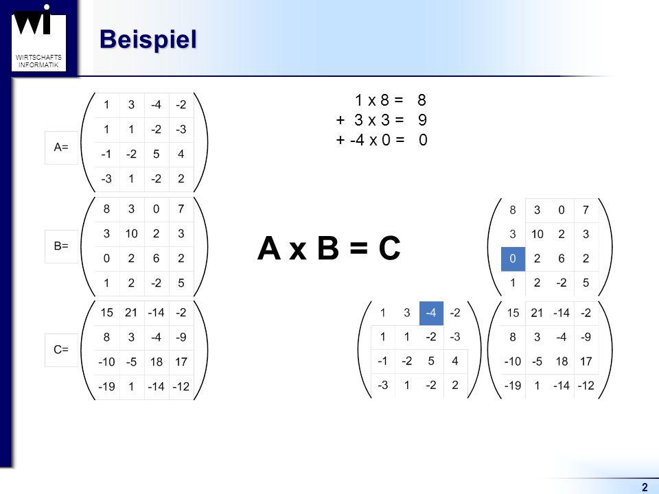Beispiel 1 x 8 = 8 + 3 x 3 = 9 + -4 x 0 = 0 A x B = C 2