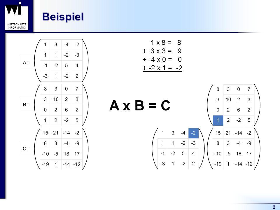Beispiel 1 x 8 = 8 + 3 x 3 = 9 + -4 x 0 = 0 + -2 x 1 = -2 A x B = C 2