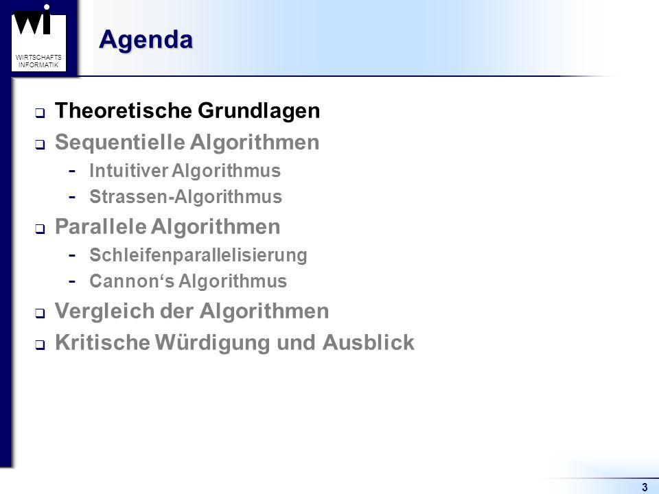 Agenda Theoretische Grundlagen Sequentielle Algorithmen