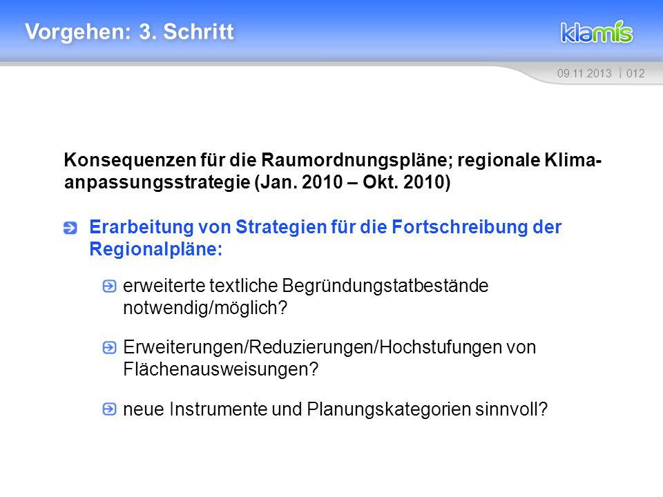 Vorgehen: 3. Schritt Konsequenzen für die Raumordnungspläne; regionale Klima-anpassungsstrategie (Jan. 2010 – Okt. 2010)