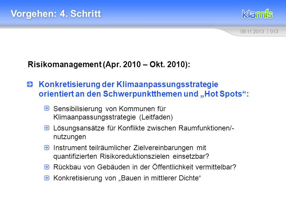 Vorgehen: 4. Schritt Risikomanagement (Apr. 2010 – Okt. 2010):