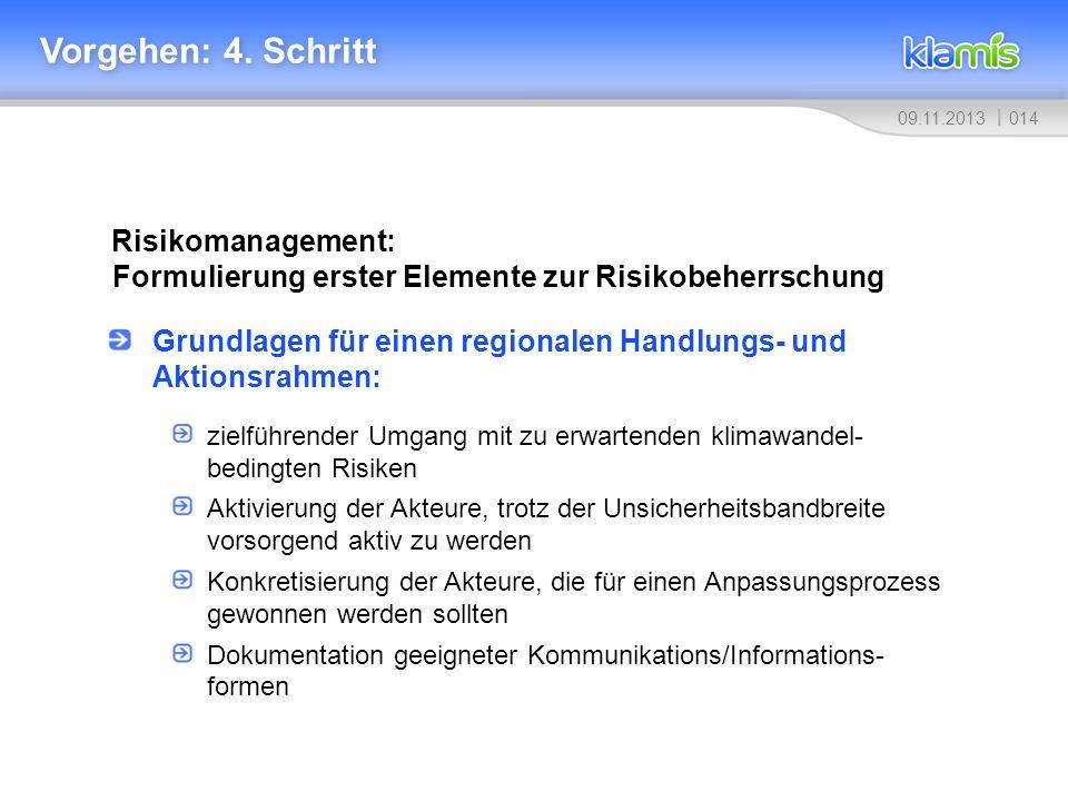 Vorgehen: 4. Schritt Risikomanagement: Formulierung erster Elemente zur Risikobeherrschung.