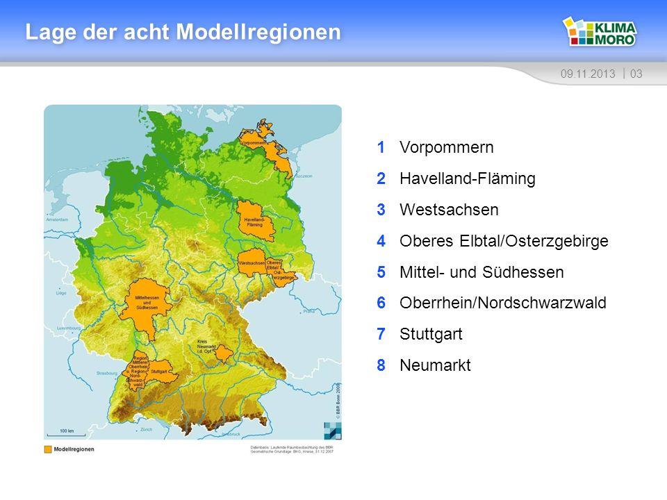 Lage der acht Modellregionen
