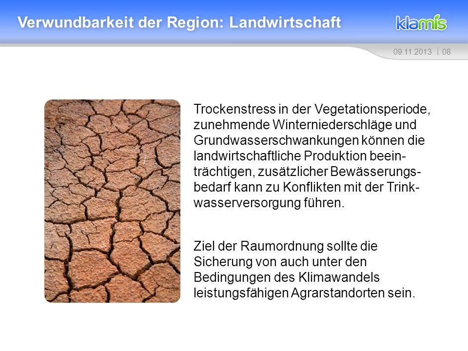 Verwundbarkeit der Region: Landwirtschaft