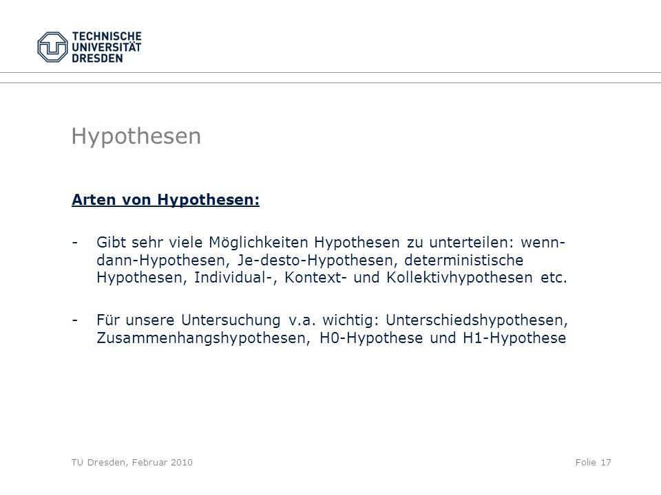 Hypothesen Arten von Hypothesen: