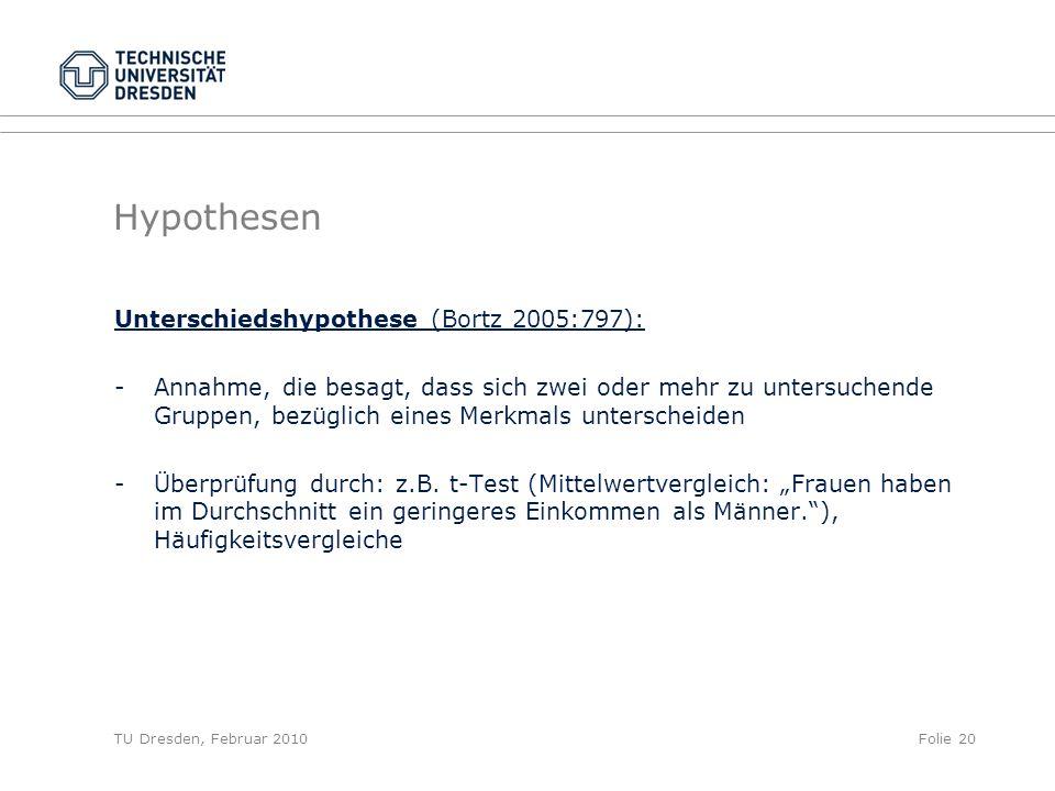 Hypothesen Unterschiedshypothese (Bortz 2005:797):